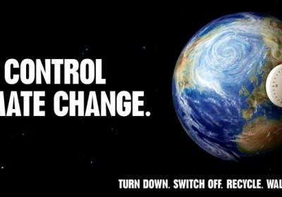 Te szabályozod a klímaváltozást:vedd lejjebb, kapcsold ki, hasznosíts újra, sátálj. Változtass!